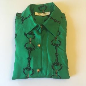 SKIRTIN AROUND Green Silk Horsebit Print Blouse
